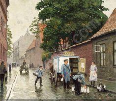 Paul Gustave Fischer (1860-1934): Gadeparti fra Skt. Pederstræde, set fra Vester Voldgade, med mælkevogn og folkeliv