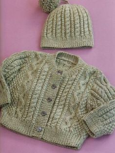 Cabled Cardi & Hat