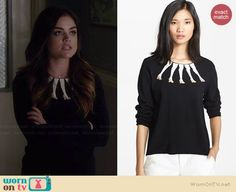 Aria's black sweater with leg pattern on Pretty Little Liars.  Outfit Details: http://wornontv.net/36596/ #PLL