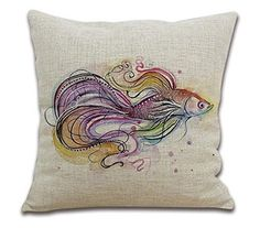 18'Inches OneMtoss Cotton Linen Square Throw Pillow Case Cushion Cover for Sofa Watercolor Fish-171 OneMtoss
