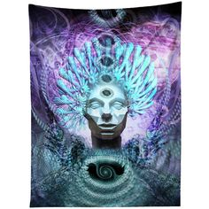 Trippy Wall Hanging Tapestry Android Jones Inspired Visionary Artwork... ($50) ❤ liked on Polyvore featuring home, home decor, wall art, grey, home & living, home décor, wall décor, wall hangings, gray wall art and inspirational home decor
