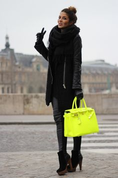 All black outfit + neon bag