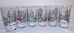 Culver Winter Scene Glasses Set Of 6 Vintage Sleigh Trees Snow High Ball Drink