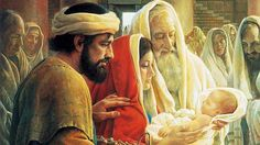 An artist's depiction of Joseph and Mary presenting their newborn baby Jesus to an elderly Jew named Simeon.