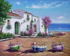 Original art for sale. Beautiful Paintings, Beautiful Landscapes, Cenas Do Interior, Landscape Art, Landscape Paintings, Image Nature, Cottage Art, Belle Photo, Painting Inspiration