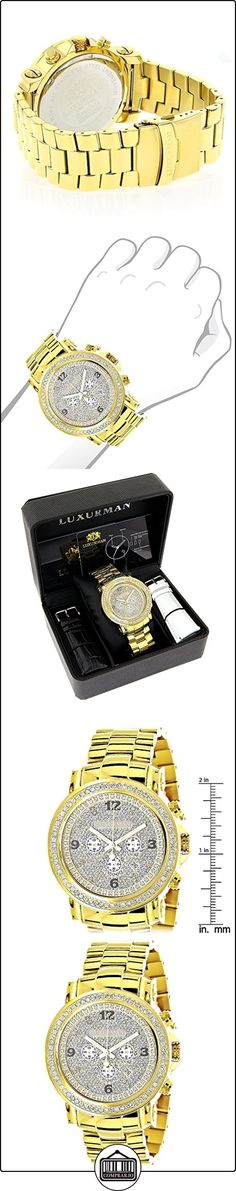 Iced Out Luxurman Large Diamond Bezel Watch for Men 18k Yellow Gold Plated Metal Band & Chronograph 2.5Ct  ✿ Relojes para hombre - (Lujo) ✿
