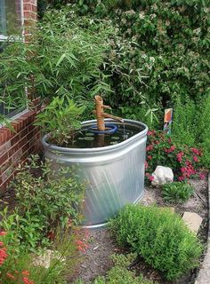 Water garden made from a cattle trough. make great fish ponds too Small Water Features, Water Features In The Garden, Container Water Gardens, Container Gardening, Container Pond, Gardening Vegetables, Horse Water Trough, Cattle Trough, Patio Pond