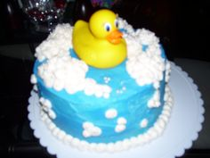 Homemade Baby Shower cake with buttercream frosting.