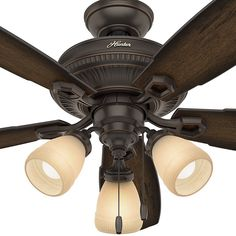 The traditional ceiling fan gets a formal upgrade with the Ambrose, one of the signature pieces from the hunter designer series. High-end finishes and classic, ornate details and complement each other throughout every element of the fan. The dimmable LED bulbs in the 3-light fixture will give you the lighting you desire, and the blade span will cool large rooms with ease. Take a look at complete Ambrose collection to see a variety of sizes and options to enhance every room in your home.