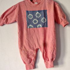 12m Coral Girl Baby Fleece One Piece Romper Cotton Hand Dyed on Etsy, $32.00