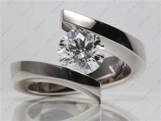 platinum spiral tension set engagement ring #11685