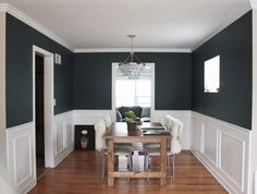 Farrow & Ball's Hague Blue. Inky blue with black undertones. It's deep and intense and modern and yet totally classic. Wonderful contrast between the intense blue and the crisp white wainscoting. Bedroom Colour Palette, Bedroom Colors, Family Room Design, Dining Room Design, White Rooms, White Walls, Blue Wall Colors, Paint Colors, Blue Powder Rooms