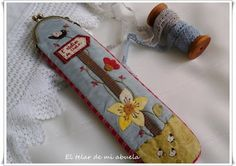 FUNDA CON BOQUILLA, NECESERES Y BOLSO DE Gail Pan. Key Covers, Blue Bird, Patches, Pouch, Quilts, Embroidery, Purses, Decoupage, Workshop