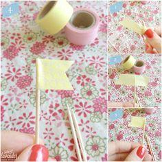 Sweet Lavender Bake Shoppe: |diy| washi tape cupcake toppers...