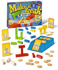 Make 'n Break Junior and thousands more of the very best toys at Fat Brain Toys. Stack up a fast-paced challenge of block-building excitement! The game master flips over a building cards - Quick! Stack your building blocks to. Ravensburger Puzzle, Board Games For Kids, Games For Toddlers, Kid Games, Educational Board Games, Games To Buy, Preschool Games, Game Sales, Cards