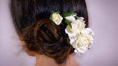 A personal favorite from my Etsy shop https://www.etsy.com/ca/listing/264928027/white-garden-rose-hair-pin-elegant