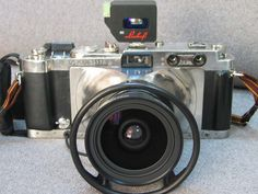 Nice Homebuilt-- looks like a camera cut in half and center put in -- machined front cone-- gg and darkslide in back but looks like film stays in so GG is only used between rolls.