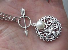 The Hunger Games Inspired Arrow with mocking jay and Pearl necklace-antique silver