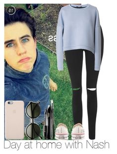 """""""Day at home with Nash"""" by irish26-1 ❤ liked on Polyvore featuring Topshop, TIBI, Converse and Lancôme"""