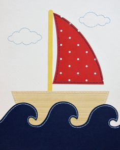 Sailboat Nautical Nursery Art Boy Wall Art Nursery by JadieBaby