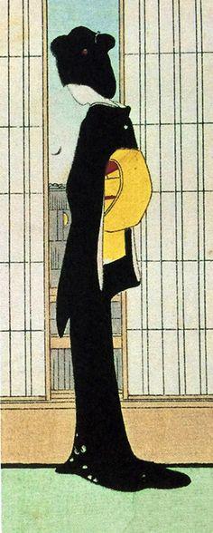 Komura Settai (1887-1940) 小村雪岱 Beauty Looking Out(part)