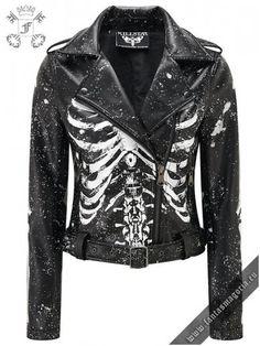 Morgue Gimme Bones Biker Jacket [B] - Mal Addams - Morgue Gimme Bones Biker Jacket [B] MORGUE. - Luxe A+ Grade Vegan Leather. 'Gimme Bones' biker jacket with contrasti - Denim Shirt Outfits, Mode Punk, Mode Kawaii, Look Girl, Dark Fashion, Style Fashion, Women's Gothic Fashion, Biker Fashion, Fashion Top