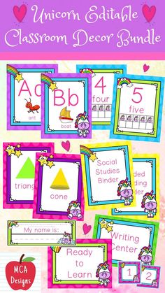 Check out my Unicorn Editable Classroom Décor Bundle features all you need to create a fresh new look for your classroom this fall! Check out the preview for a quick look at this colorful theme. My Unicorn Editable Classroom Décor Bundle features my ENTIRE Unicorn collection including several editable features! #teacherspayteachers #tpt #classroommanagement #backtoschool #bundles #unicorn Teaching Kids, Teaching Resources, Classroom Resources, Shape Posters, Center Signs, 4th Grade Classroom, Teacher Organization, Kindergarten Activities, Elementary Schools