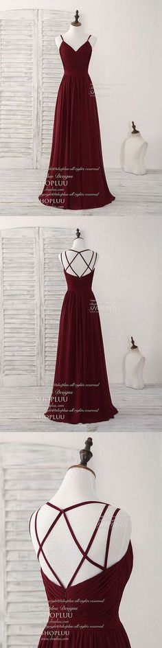 Simple burgundy chiffon long prom dress, burgundy evening dress