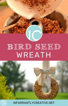 Making a birdseed wreath is a fun, classic way to welcome in Spring. Enlist your kids to help with this super simple recipe. These would make great hostess or housewarming gifts. #springishere #bird #diygifts #birdfeeder