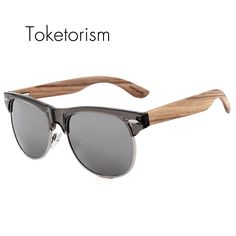 6a76e2829 Retro classic natural wood sunglasses Half frame wooden club polarized  oculos cool gifts for men women