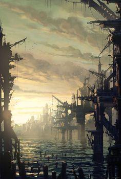 The Art Of Animation, Raphael Lacoste Cyberpunk City, Cyberpunk Kunst, Environment Concept Art, Environment Design, Fantasy Places, Fantasy World, Fantasy Kunst, Fantasy Art, Science Fiction Kunst