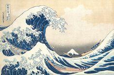 "Japanese Art Print ""The Great Wave off Kanagawa"" by Hokusai Katsushika, woodblock print reproduction, Mount Fuji, floating world, tsunami Famous Art Paintings, Famous Artwork, Wave Paintings, Hokusai Paintings, Japanese Prints, Japanese Art, Japanese Waves, Collage Kunst, Great Wave Off Kanagawa"