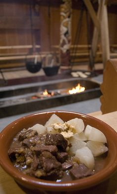 I would love to do this with lamb & over a fire outside for Imbolc!  Viking food: beef stew with turnips & hazel butter