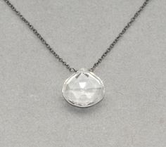 quartz necklace on blackened sterling silver chain. $35.00, via Etsy.