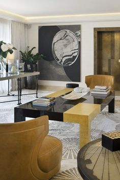 I would love to try this treatment on my coffee table...Alberto Pinto - Interior Designs  Apartment in Monaco