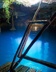 A cenote is a natural pit, or sinkhole resulting from the collapse of limestone bedrock that exposes groundwater underneath. Especially associated with the Yucatán Peninsula of Mexico, cenotes were sometimes used by the ancient Maya for sacrificial offerings.
