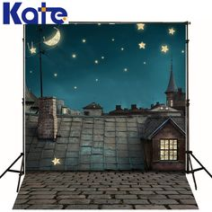 Kate Baby Backdrops Photo Roof Chimney Starry Sky Photographic Background Brick Floor Backgrounds For Photo Studio J01685