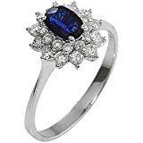 Anello in oro bianco 18kt con diamanti e zaffiri blu
