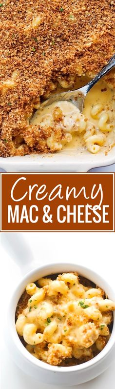 Creamy Mac and Cheese - Topped with a garlic parmesan panko topping  - so sinfully delicious! #macaroni #macandcheese #macaroniandcheese | Littlspicejar.com. Not the healthiest thing in the world, but damn good!!!!!
