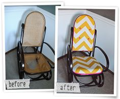 Pimp My Furniture: Rocking Chair Part II « Designing Dawn great instructions for my rocking chair redo Bentwood Rocker, Bentwood Chairs, Old Chairs, Vintage Chairs, Dining Chairs, Ikea Chairs, Pink Chairs, Eames Chairs, White Chairs