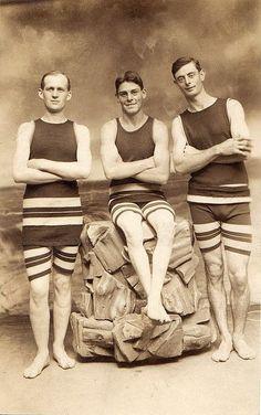 men's vintage swimwear | Three men, vintage swimwear, circa 1910