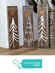 "Rustic Christmas Tree Painted Signs Wrapped with Twine and Rusty Stars 4.5"" by 17.75"" Set of 3 from Three Blue Owls"