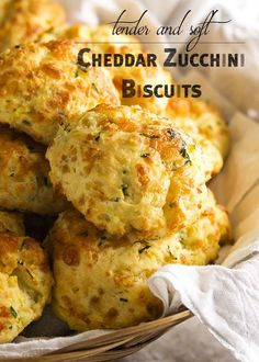 Soft and Tender Zucchini Cheddar Biscuits - Just a Little Bit of Bacon- Zucchini cheddar biscuits are soft, tender and full of shredded zucchini and sharp cheddar. Just drop them onto the baking tray and go. Zucchini Zoodles, Bacon Zucchini, Zucchini Bread Recipes, Shredded Zucchini Recipes, Zucchini Scones Recipe, Mexican Zucchini, Zucchini Fritters, Queso Cheddar, Cheddar Biscuits