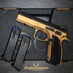 CZ Shadow 2 cerakoted in gold and trigger in flat black. Visit www.omahaoutdoors.com for more info. #czusa #czfirearms #cz75 #czshadow2 #czshadow #omahaoutdoors
