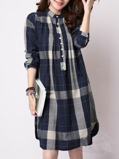 Discover Band Collar Single Breasted Curved Hem Plaid Shift Dresses online with cheap prices and shop fashion Shift Dresses for any events or occasions at berrylook Vancol Women Gingham Shirting Plaid Long Blouses O neck Long Sleeve Shirts Plus Size Casua Casual Dresses For Women, Cute Dresses, Clothes For Women, Mode Hijab, Dresses Online, Fashion Dresses, Plaid, Shift Dresses, Single Breasted