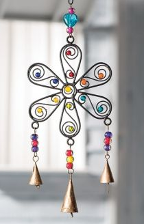 Flower Windchime with Mixed Beads > Windchimes, Mobiles, Light Catchers & Bells > Home & Gifts > Namaste Fair Trade > Namaste-UK Ltd Wire Crafts, Bead Crafts, Diy And Crafts, Arts And Crafts, Large Wind Chimes, Diy Wind Chimes, Sun Catchers, Art Fil, Copper Art