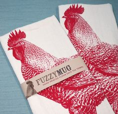 Rooster In Red - Hand Printed Flour Sack Tea Towel (unbleached Cotton)