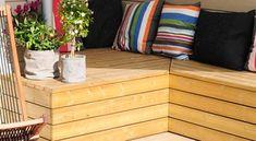 Praktisk putekasse på en helg - Byggmakker Garden Storage Bench, Bench With Storage, Garden Benches, Hygge, Pallet, Throw Pillows, Furniture, Home Decor, Gardening