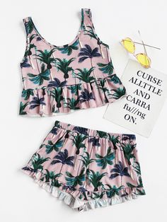 Shop Coconut Tree Print Frilled Tank And Shorts Pajama Set online. SheIn offers Coconut Tree Print Frilled Tank And Shorts Pajama Set & more to fit your fashionable needs. Cute Comfy Outfits, Cute Summer Outfits, Kids Outfits, Casual Outfits, Teen Fashion, Fashion Outfits, Womens Fashion, Cute Sleepwear, Cute Pajamas