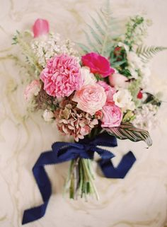 Pink and Navy Bouquet - full shoot and florals on Wedding Sparrow http://weddingsparrow.co.uk/2013/08/07/bohemian-style-shoot-lynette-boyle-photography/